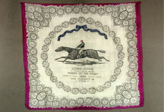 Commemorative square celebrating Lord Lyon, the British thoroughbred racehorse that won the Epsom Derby in 1866. In the center is the horse and rider surmounted by a large blue bow. A circle of medallions surrounds them, each medallion containing the name of the winning horse from years past. The border contains a dense framework of additional medallions, each with winning horses from years that extend back to the 18th century.