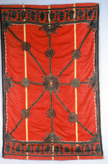 Four pieces of red silk with a narrow yellow stripe on each side sewn together and embroidered in green with details in yellow, white and black. Design shows a central medallion and smaller medallions that fill the field. A wide border at each end has flowering plants with a narrow border on each side.