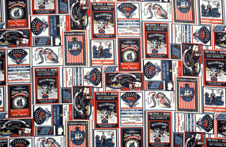 """Length of printed fabric commemorating the U.S. Bicentennial. Half drop repeat of a series of patriotic sheet music covers """"the Star Spangled Banner"""", """"the Stars and Stripes"""" and """"Hail Columbia"""" with patriotic fife and drummer, American eagle, flags and Fort McHenry in red, white and blue."""