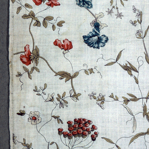 Allover pattern of long flowering branches which hook together to form a continuous very linear pattern on the white cotton fabric. Flowers include sweet peas, morning glories, clover, and yarrow.