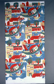 """Textile printed with four rows of  large repeat of waterfront. Design shows body of water with one large boat (gondola) with two human figures, a few smaller boats, buildings, sign that reads """"CANDY SODAS"""", and trees. Printed in red, blue, and yellow (blue and yellow to make green; blue and red to make purple-brown)."""