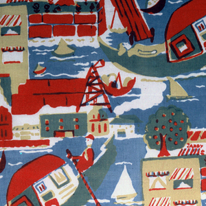 "Textile printed with four rows of  large repeat of waterfront. Design shows body of water with one large boat (gondola) with two human figures, a few smaller boats, buildings, sign that reads ""CANDY SODAS"", and trees. Printed in red, blue, and yellow (blue and yellow to make green; blue and red to make purple-brown)."