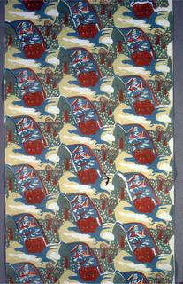 Textile with printed diagonal design repeat. Design features body of water with boats, three trees in grass, island with flowers, and clouds. Printed in blue, yellow, and red (red on blue to make brown and blue on yellow to make green)