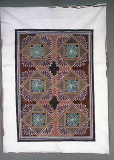 Rectangle filled with diamonds- points touching. Full face flowers in center of each diamond and profile-view flowers on four sides of each diamond. Hand painted in brown, purple, burgundy, rose, grey-green on light and dark rust background.