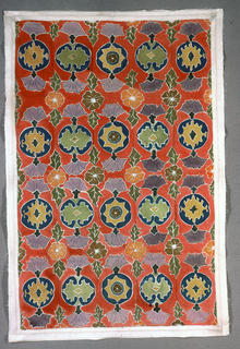 Stright repeat of rectangular unit containing a circle with profile-view blossom at two sides on l axis. At corner of each unit is a flower with two leaves. the centers of the circles are filled with an eight-pointed star or one or two variations of a floral form. Painted in seven colors: gold, blue, grey, orange, green, brown, and rose.