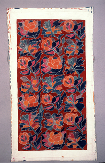 All over floral pattern in orange, dark blue, purple, grey, and light blue on burgundy background.