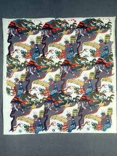 Textile with printed design of woman sitting by a bridge. Design also features asian style building, tree of what look like cherry blossoms, with a bird perched in the branches, rock formation, tree, and other flora. Printed in grey, pink-red, yellow, and blue (blue and pink-red to make brown, yellow and blue to make green, and blue and pink-red to make purple)