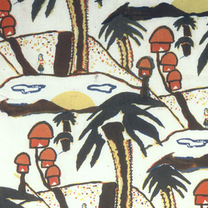 One quarter offset brick repeat of island scene with palm trees and dome-roofed huts. Printed in red, yellow, and blue (yellow over red for orange, blue over yellow for green, red over blue and yellow for brown) on white ground.