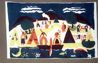 Textile with printed design of two large Native American figures with headdresses and braids sitting in canoe on a river. On land behind them are four tipis and other human figures. In the water below them are fish and other sea creatures. Printed in blue, yellow, pink, (yellow over blue for green and pink over blue for purple) on muslin ground.
