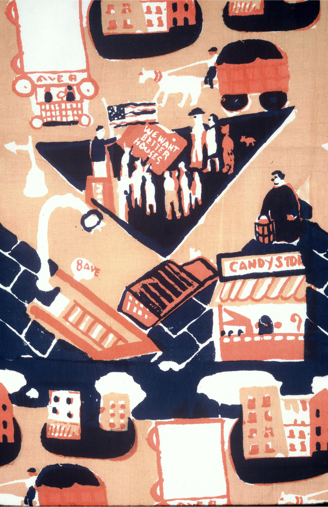 """Textile with printed repeat of city scene. Design shows horse and carriage, street lamps, candy store, sign for 8th Ave., bus or trolley marked Ave. A, group of human figures holding a sign that reads """"we want better houses"""", and human figure behind podium next to flying American flag. Printed in yellow-ochre, pink, and blue (pink and blue layered to make dark purple)."""