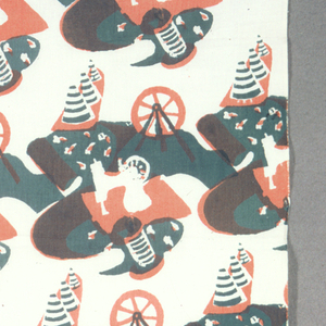 Straight repeat of wheel, sewing machine, cones of thread, and length of fabric printed in green and red (green over red for brown) on white ground.