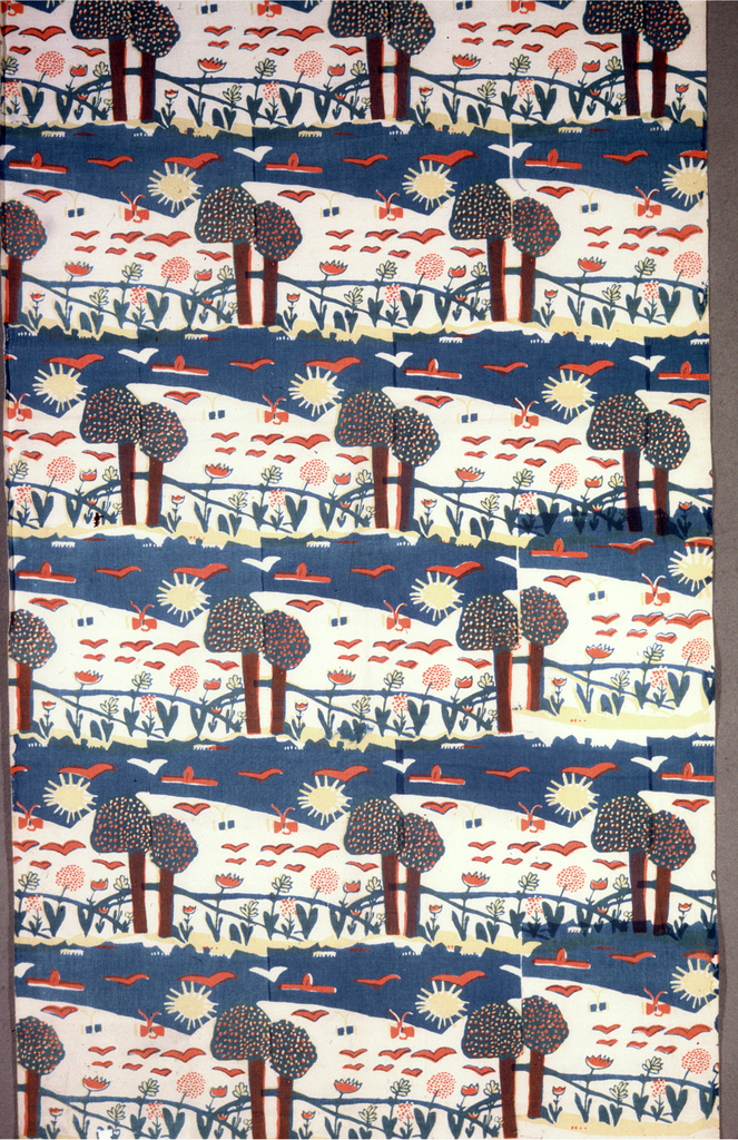 Brick repeat of trees and flowers with horizontal sky-band printed in red, yellow, and blue (red over yellow for orange, blue over yellow for green).