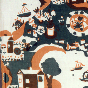 Slightly off-center brick repeat: island and water scene with house, trees, garden, and boats printed in green and orange (orange over green for brown) on white ground.