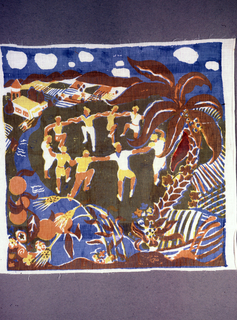 Square scarf with scene of people dancing in circle on an island with water and tropical foliage. Printed in blue, yellow, orange (blue over yellow for green, blue over orange and yellow for brown) on white ground.