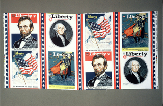 Textile with screen printed reproductions of four covers from Liberty Magazine includes portraits of George Washington and Abraham Lincoln as well as a full-length portrait of Washington in uniform standing before a tree, and a waving American flag on a flagpole with clouds and blue sky in the background. Group forms a unit repeated as a half drop.