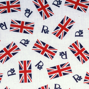 "Commemorative textile for the Silver Jubilee of Elizabeth II of Great Britain. Red and blue Union Jack flags and numerous ""Rs"" are scattered over a white ground . The letter ""R"" has a serif that terminates in a Tudor rose."