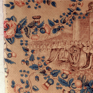 Straight repeat showing the coronation of Queen Victoria in 1837. Enclosed in a swag of flowers which include the rose and thistle.