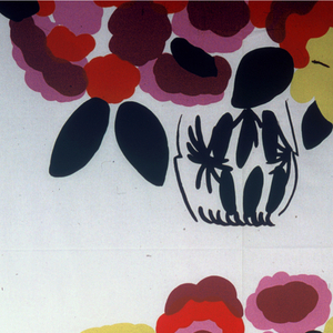 Repeating pattern of a vase of brightly colored flowers. Printed in six colors.