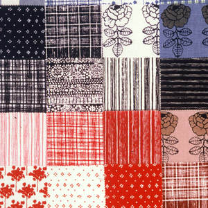 Sampler of small scale patterns (some of them the same but a different color). Long rectangular patchwork of 60 squares each 9.5cm. Patches adhered to non-woven backing.