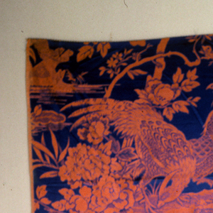 Reproduction-style (LaSalle) with birds on rock under birds on tree branch in flame on deep blue.