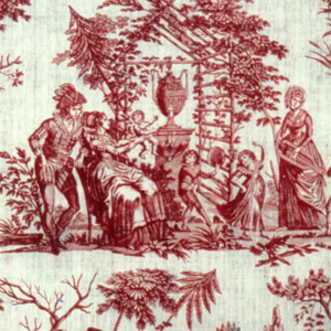 Pastoral scenes including man and woman watching children play with a dog,  two women, a man and a goat suckling a baby, a couple playing backgammon, and a family group in an arbor. In red.