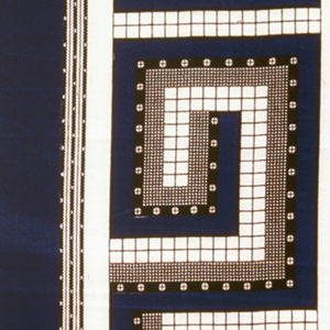 Quarter of printed scarf used for sample in two shades of blue, two shades of brown, and black. In the field is a pattern of small leaves and the border shows geometric key design.