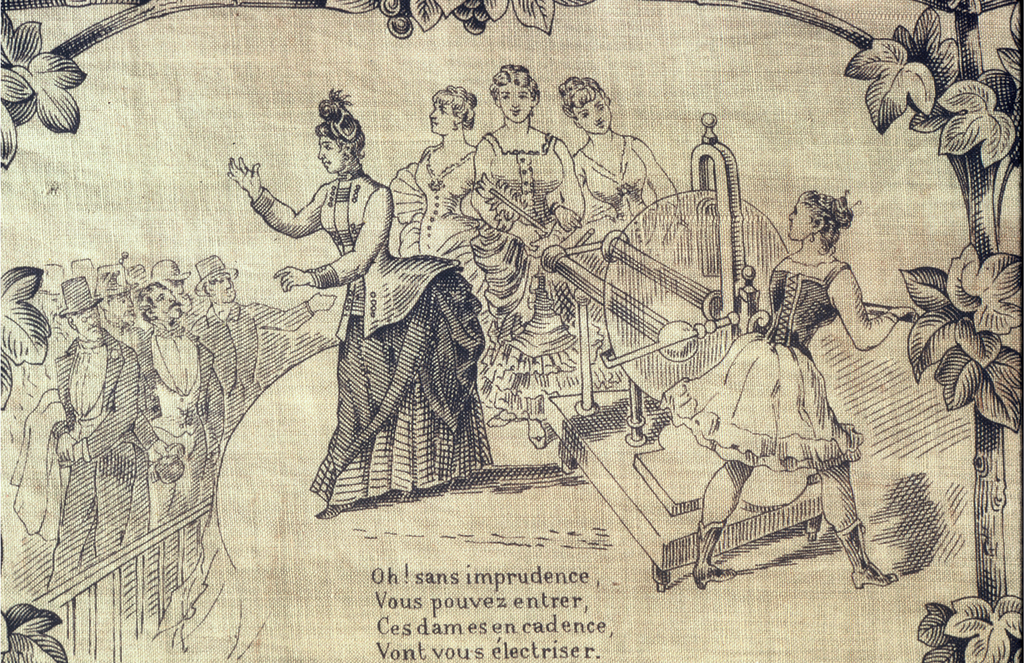 "Border: vignettes Field: ""LES DROITS DE LA FEMME"" or ""The Rights of Women"" with vignettes. Colors: red and black"