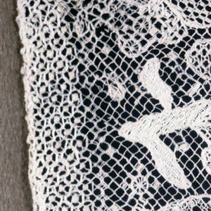 Small pillow slip salvaged from a larger one originally made in the 18th century. Plain cotton body with deep border of embroidered knotted net, with curving floral vines and a bird.