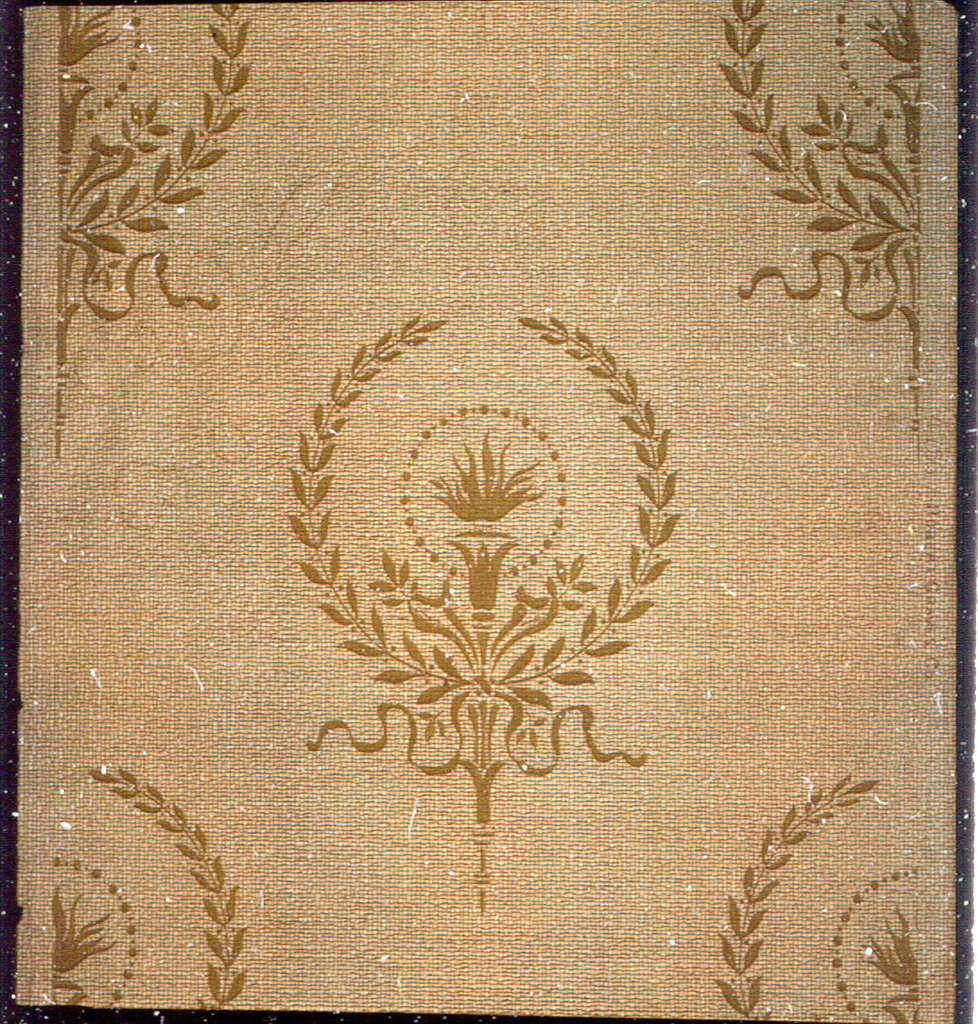 Repeating motif of lighted torch in wreath, tied with ribbon. Printed in tan on lighter tan weave-like background.