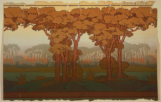 Landscape frieze, with two clusters of trees in foreground, and large clusters of trees in background, printed in silhouette. Printed in shades of greens and browns on ground that shades from light yellow at top to green at bottom.