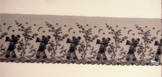 Black lace band with a repeating pattern of a Pierrot figure under a tree looking at a crescent moon among the stars.
