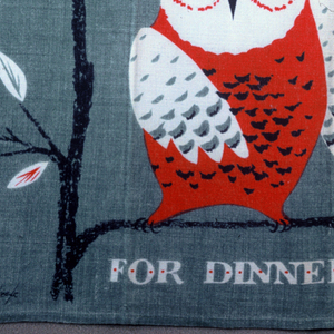 "Two owls, a toucan, and two other birds on tree branches, with ""Who-o-o-s for Dinner,"" printed in gray, red and green."