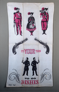"""Four men, a woman, and two guns. Text reads """"It's Your Turn to Do the Dishes."""" Printed in pink, black and gray."""