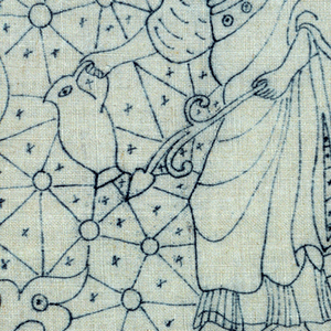 Printed pattern (in blue) for cut fabric embroidery. Design of a female figure holding a jug.