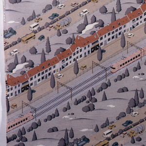 Diagonal rows of houses, roads, train lines and a golf course in muted reds and greys.