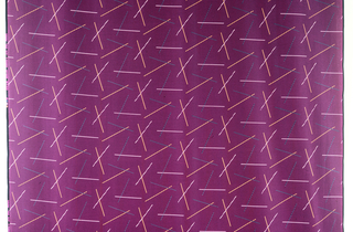 Design of three pairs of crossed bars in bright colors repeated across the fabric on a ground of diagonal lines in magenta and blue. The magenta lines cut through the crossed bars.