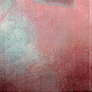 Painterly design in pink-red, white and tan with three irregular shapes in the center of each repeat