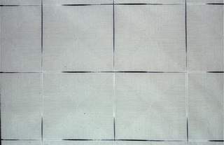 A grid of black lines fading to grey, containing in the squares fine black lines shading the square into 4 triangles.