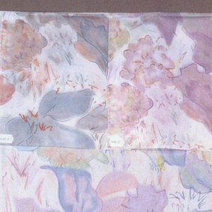 Freely drawn flowers in pastel colors on an undyed background.