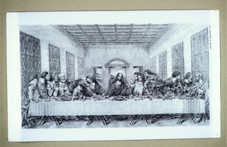 "Jacquard woven picture after da Vinci's ""Last Supper"" in black and white."