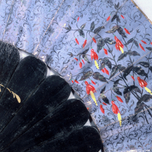 Pleated fan with double leaf. Obverse: hand-colored lithograph on paper showing central cartouche of noble woman with five female attendants. Two small side cartouches with putti, festoons of flowers and birds. Reverse: raised paper painted with flowers on blue background. Black painted wood sticks with painted flowers and bird. Horn washer at rivet.