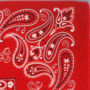 Square bandana with a red ground and design in black and white. Small square center field with tiny paisley botehs, surrounded by a narrow border of paisleys. Deep framing device of swirling paisley forms with decorative fillings.