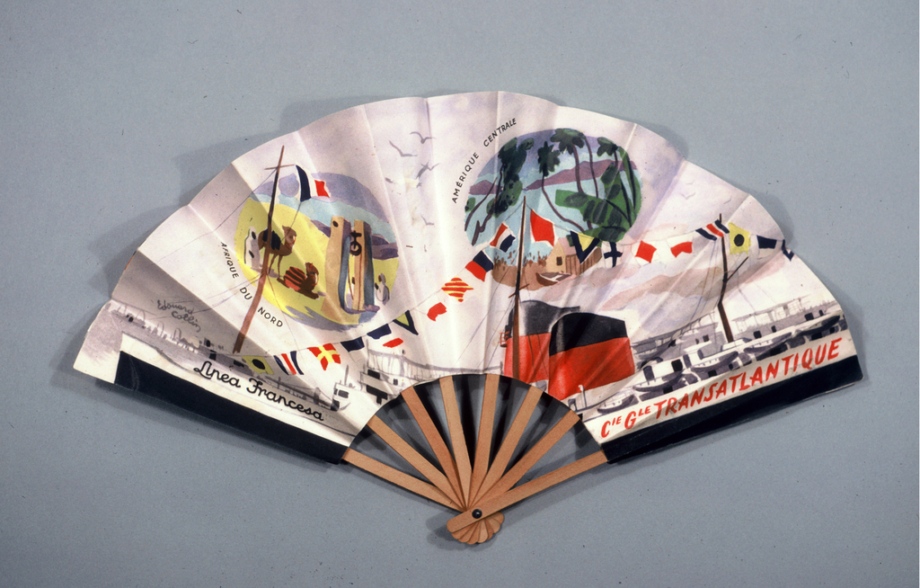 Pleated fan. Printed paper leaf. Obverse; advertising the French Line with depictions of Europe and North America. Reverse: advertising the French Line with depictions of North Africa and Central America. Wood sticks.