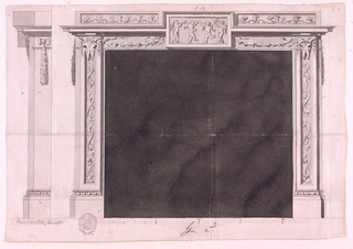 Elevation of a chimney piece. Tablet at center with four putti dancing and making music. Bucranium and flowers on either side. Profile shown at left.
