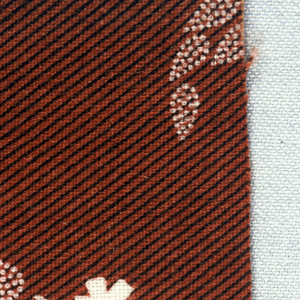 Spray of white flowers and dotted leaves on background of diagonal black stripes on brown.