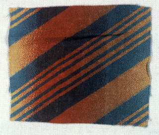 Diagonal stripes of yellow on medium blue with shaded stripe of red on top.