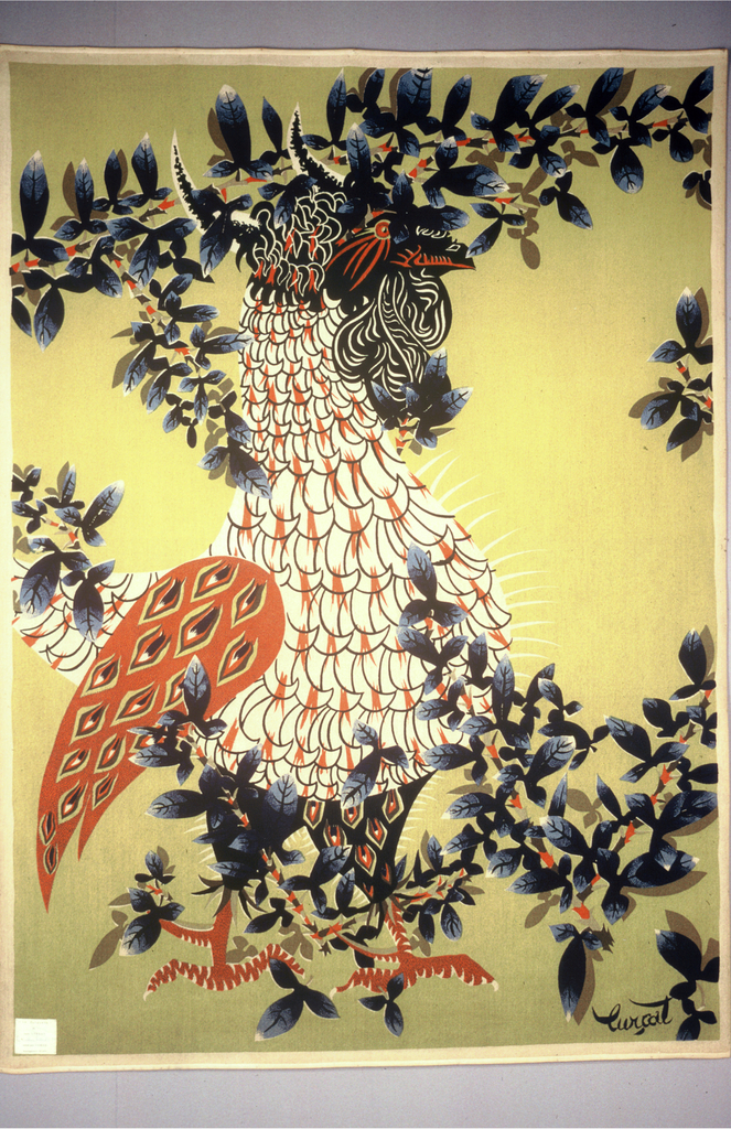 Rooster with wing outspread in a drift of blue leaves on a chartreuse ground.