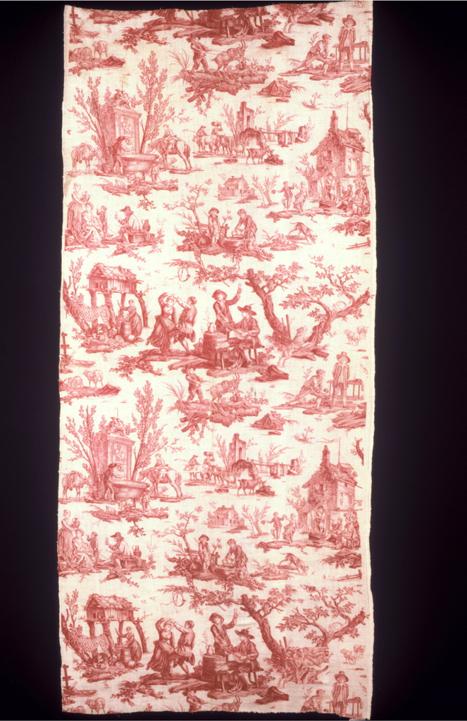 Several scenes, most involving water or drinking. Included are: village well with animals drinking, drinking outside a tavern and drinking as an accompaniement to dancing. In red on white.