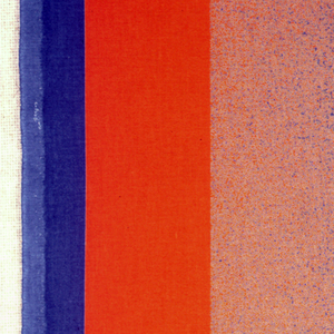 Orange on the left side changing in dots to ultramarine in the middle and viridian on the right side.