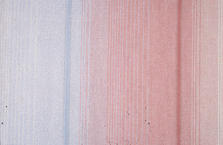 Vertical stripes in subdued colors, rust, sage green,grey/blue. Vertical stripes in subdued colors, rust, sage green, grey/blue.
